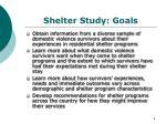 shelter study goals
