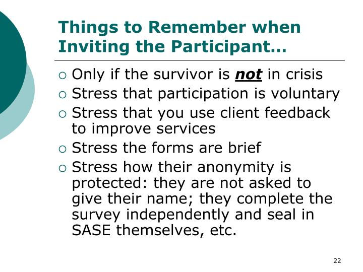 Things to Remember when Inviting the Participant…