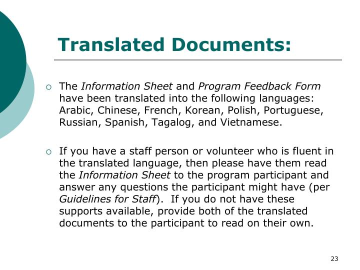 Translated Documents: