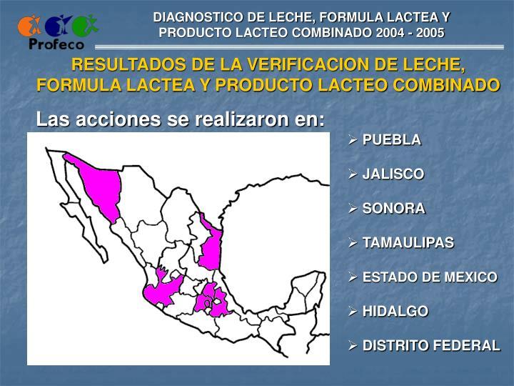 DIAGNOSTICO DE LECHE, FORMULA LACTEA Y PRODUCTO LACTEO COMBINADO 2004 - 2005