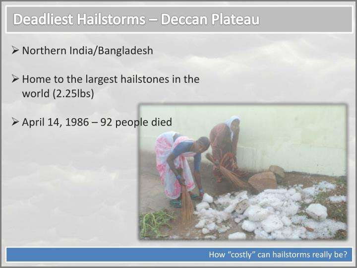 Deadliest Hailstorms – Deccan Plateau