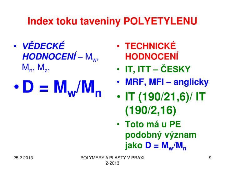 Index toku taveniny POLYETYLENU