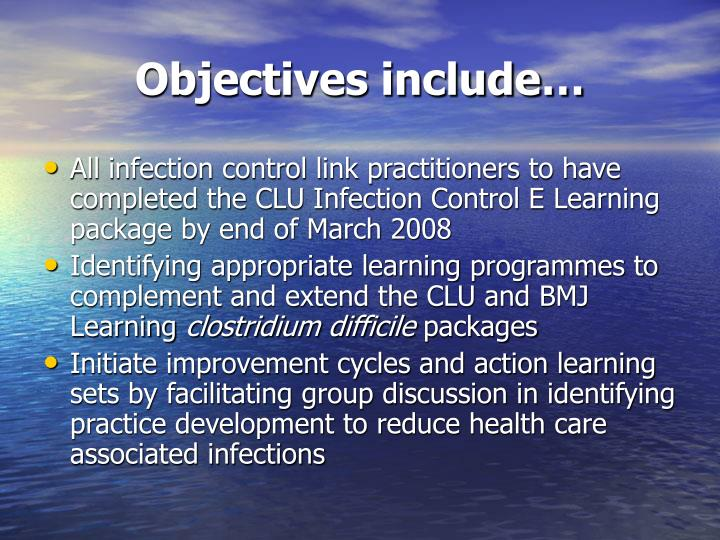 Objectives include…