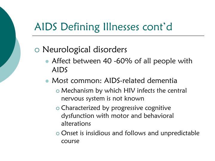 AIDS Defining Illnesses cont'd