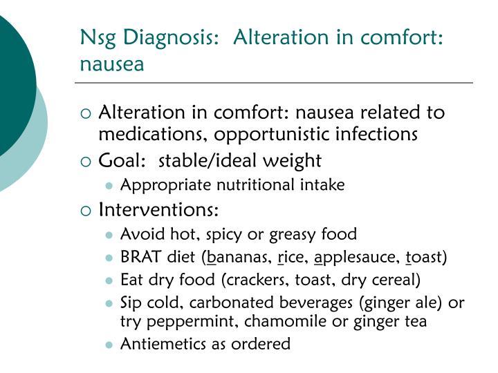 Nsg Diagnosis:  Alteration in comfort: nausea