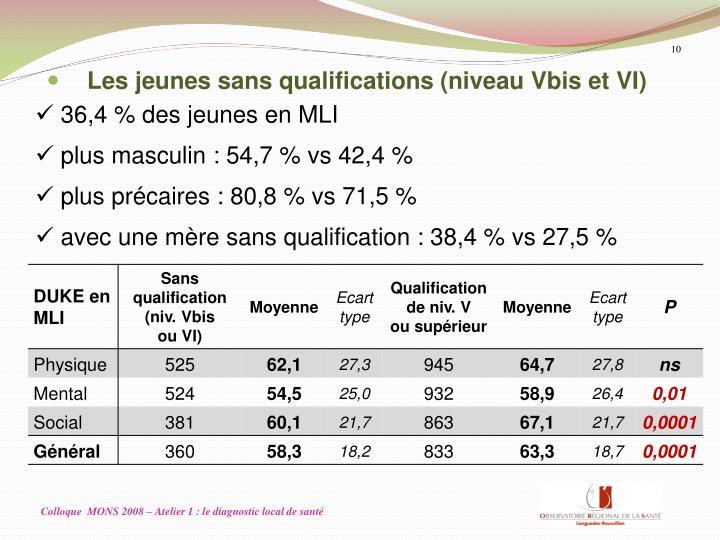 Les jeunes sans qualifications (niveau