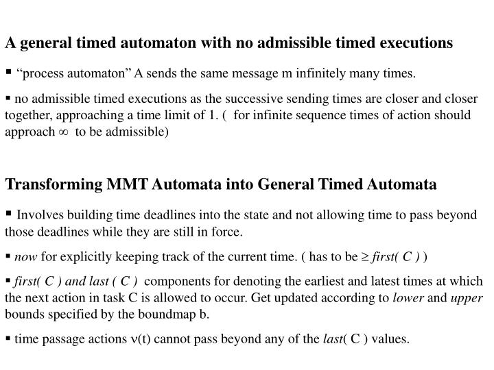A general timed automaton with no admissible timed executions