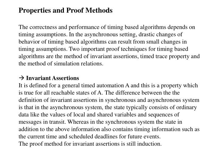 Properties and Proof Methods