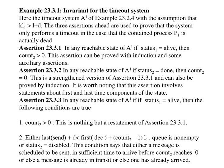 Example 23.3.1: Invariant for the timeout system