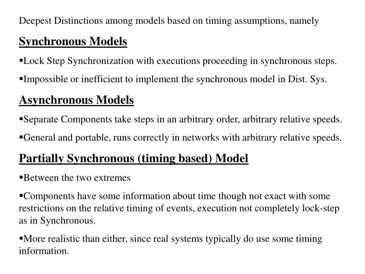 Deepest Distinctions among models based on timing assumptions, namely