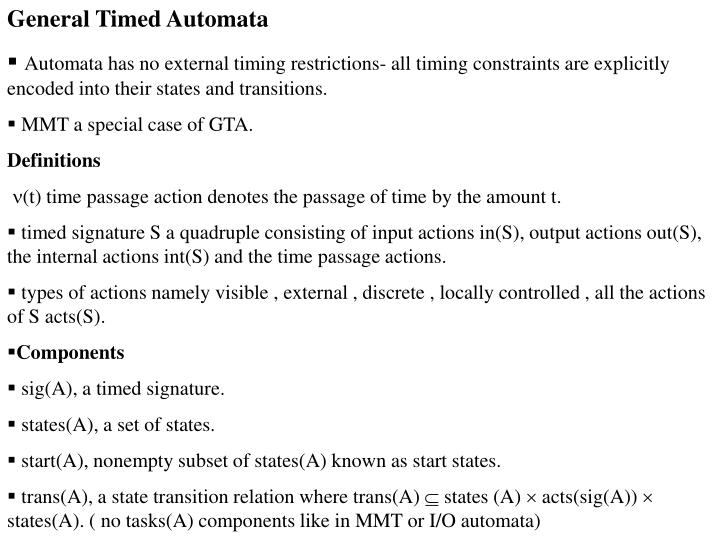 General Timed Automata