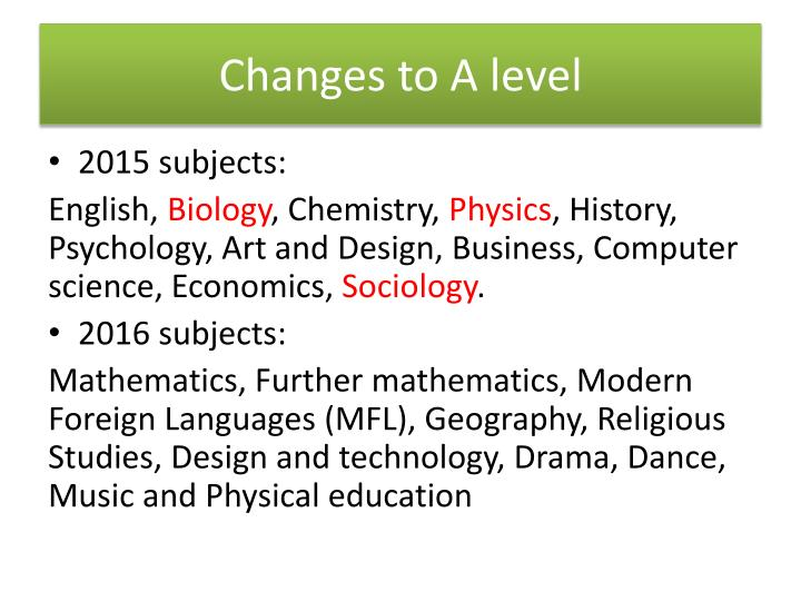 Changes to A level