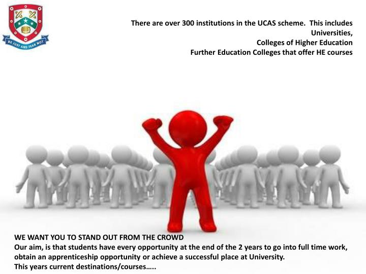 There are over 300 institutions in the UCAS scheme.  This includes