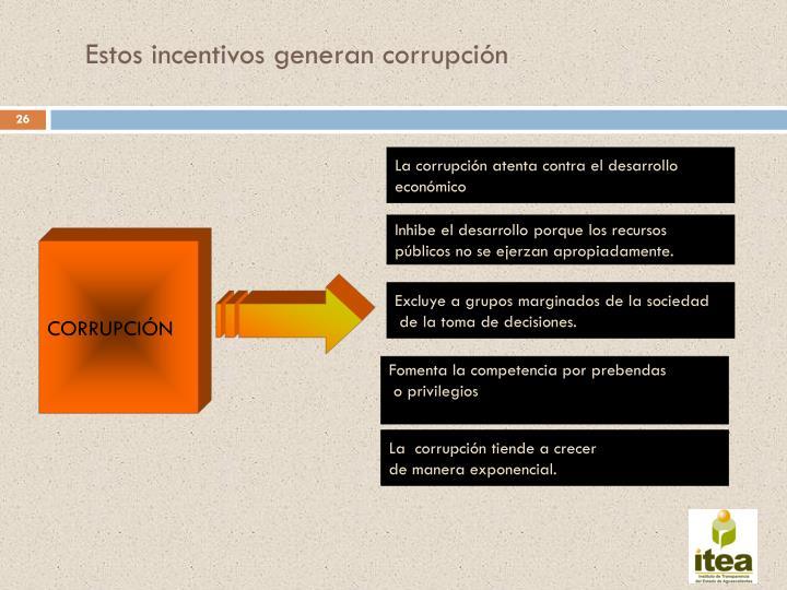 Estos incentivos generan corrupción