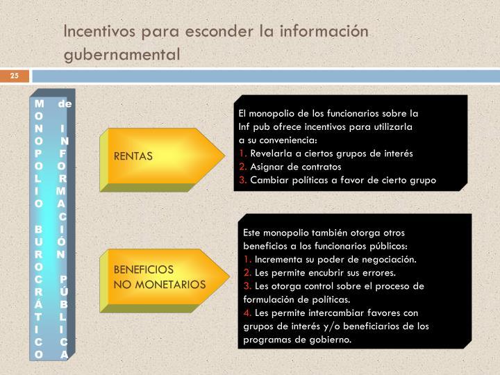 Incentivos para esconder la información