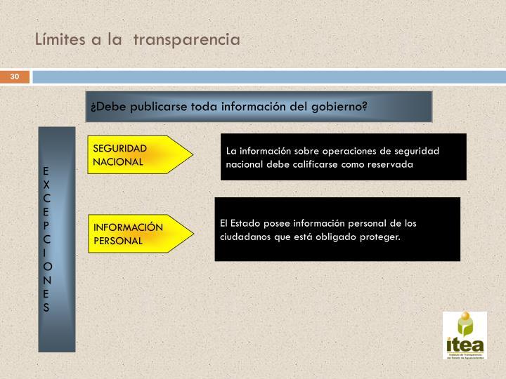 Límites a la  transparencia