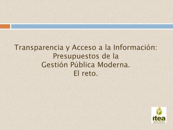 Transparencia y Acceso a la Información: