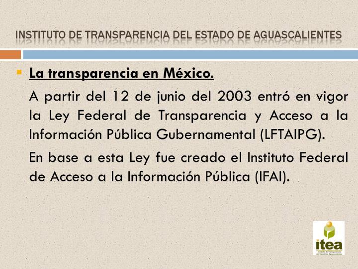 La transparencia en México.