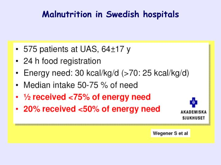 Malnutrition in Swedish hospitals
