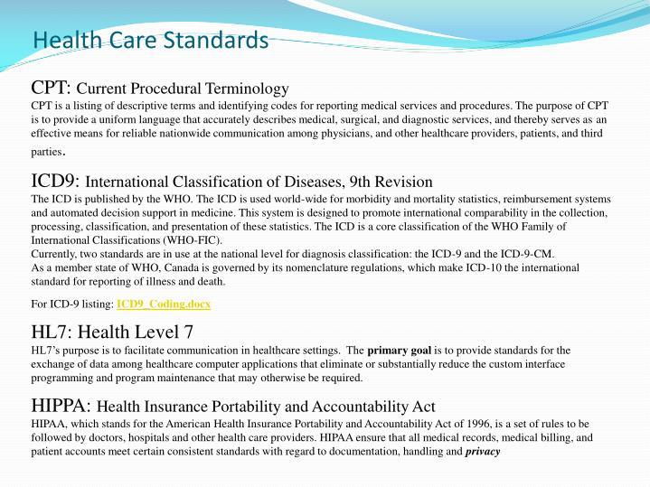 Health Care Standards