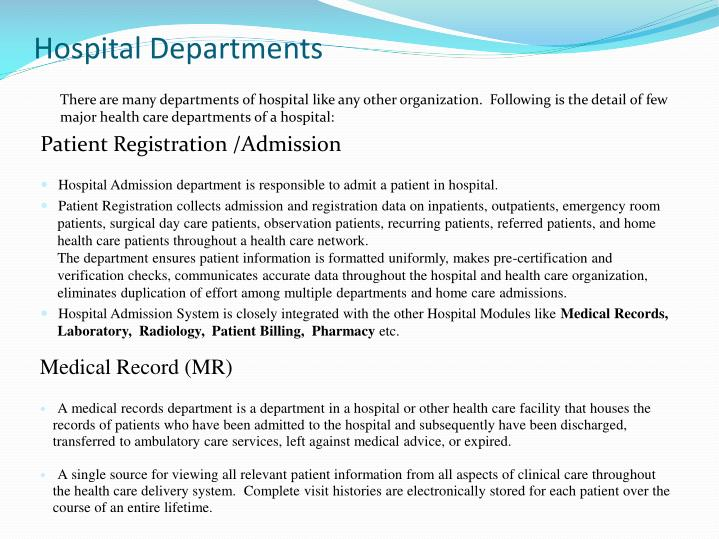 Hospital Departments