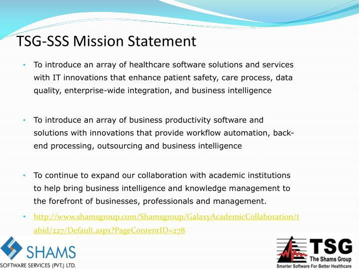 TSG-SSS Mission Statement