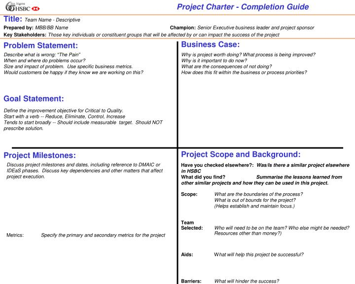 Project Charter - Completion Guide