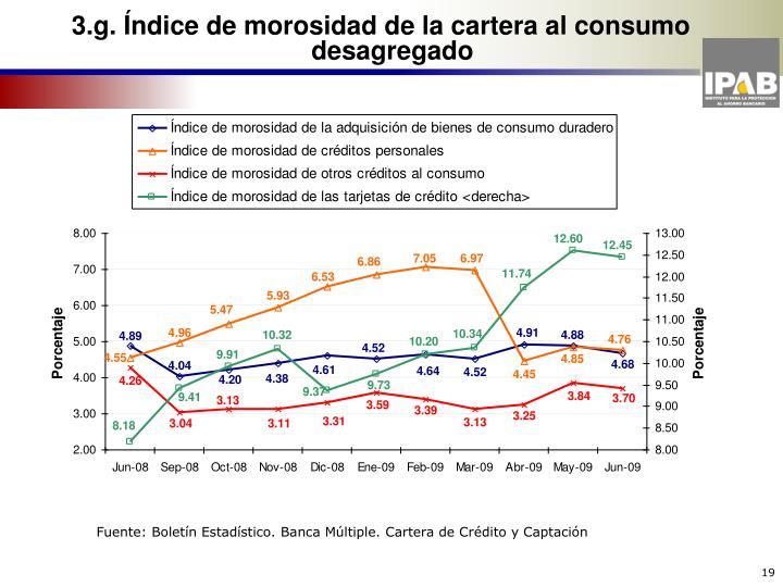 3.g. Índice de morosidad de la cartera al consumo desagregado