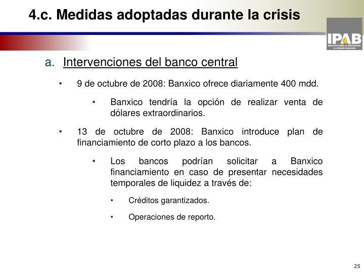 4.c. Medidas adoptadas durante la crisis