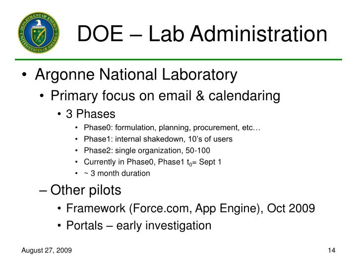 DOE – Lab Administration
