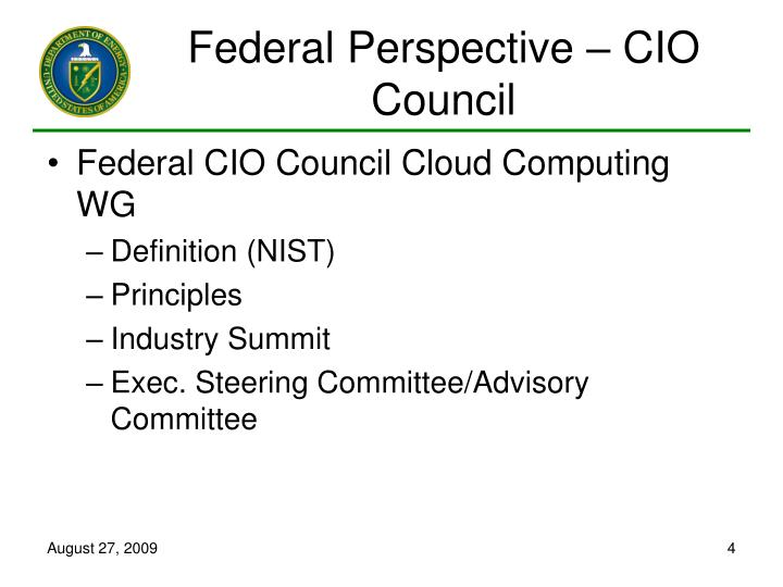 Federal Perspective – CIO Council