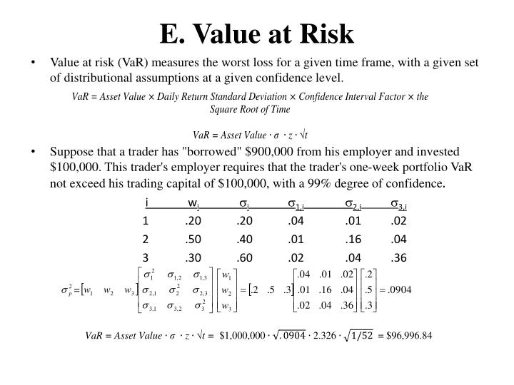 E. Value at