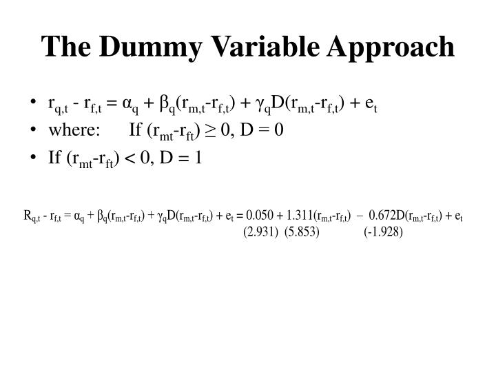 The Dummy Variable