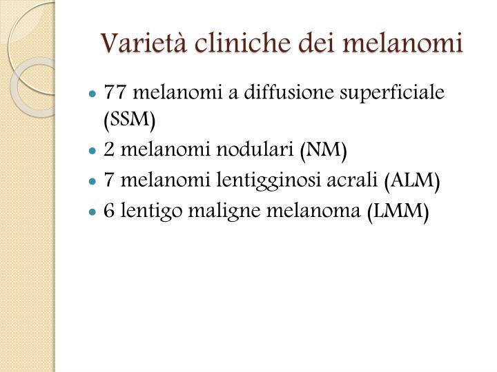 Varietà cliniche dei melanomi