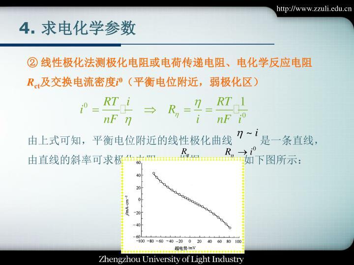 由上式可知,平衡电位附近的线性极化曲线          是一条直线,由直线的斜率可求极化电阻    ,根据            ,如下图所示:
