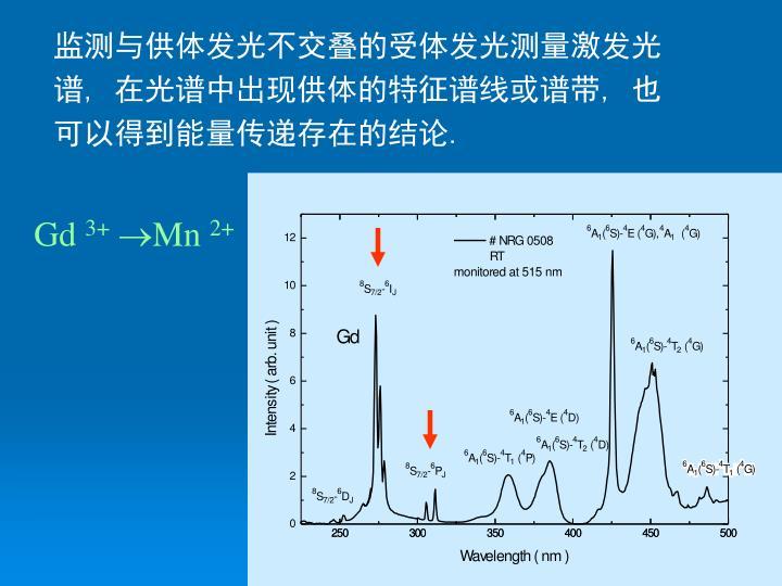 监测与供体发光不交叠的受体发光测量激发光谱
