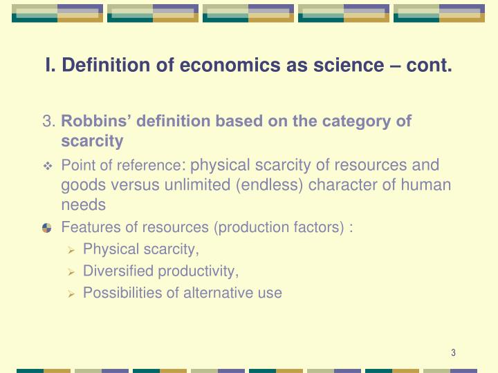 I definition of economics as science cont1