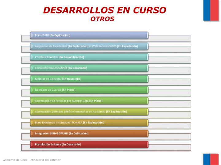 DESARROLLOS EN CURSO
