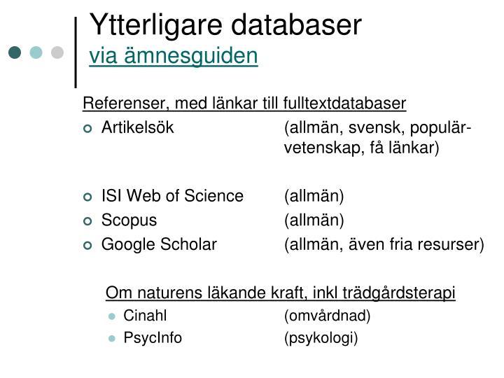 Ytterligare databaser