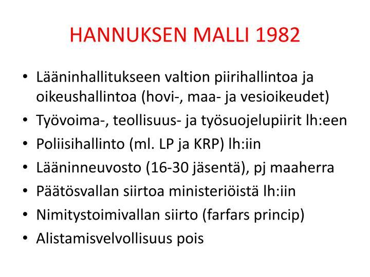 HANNUKSEN MALLI 1982