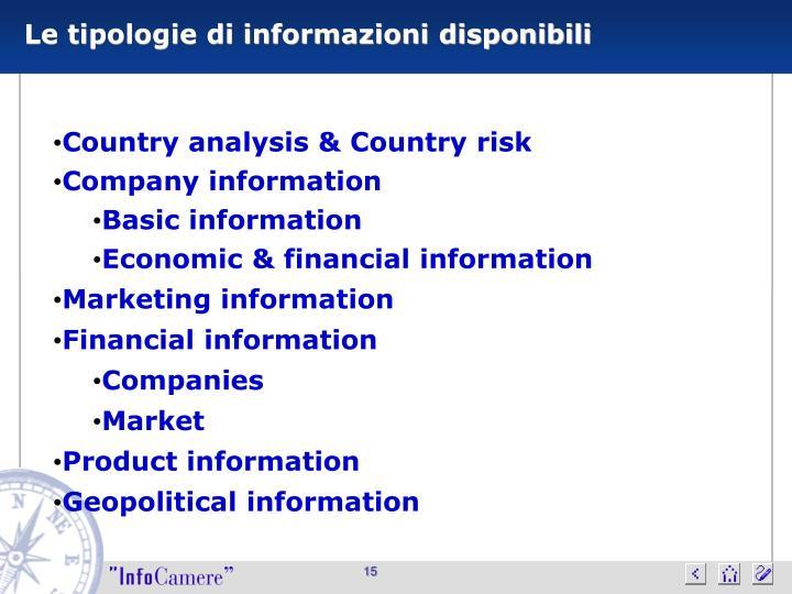 Le tipologie di informazioni disponibili