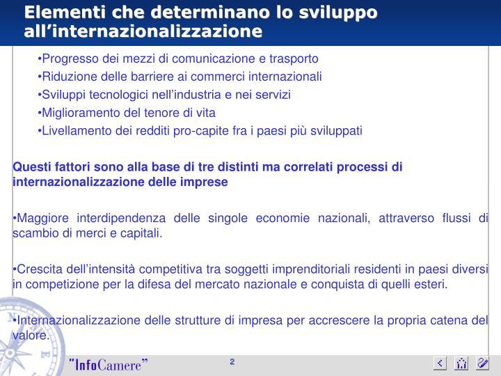 Elementi che determinano lo sviluppo all'internazionalizzazione