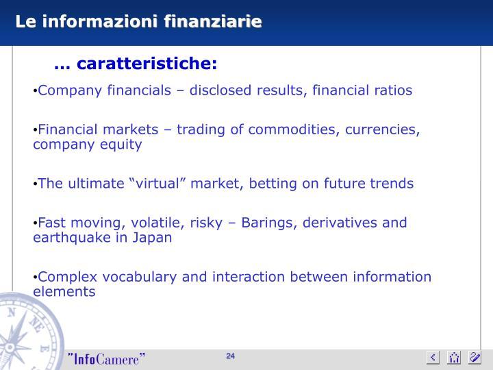 Le informazioni finanziarie