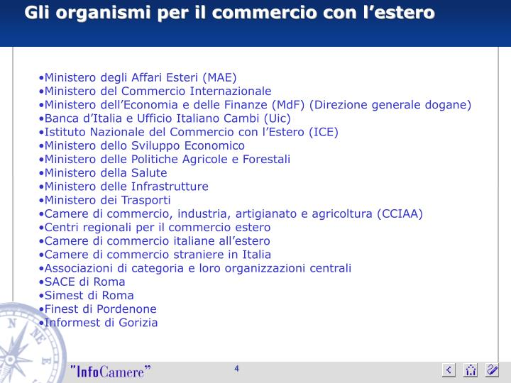 Gli organismi per il commercio con l'estero