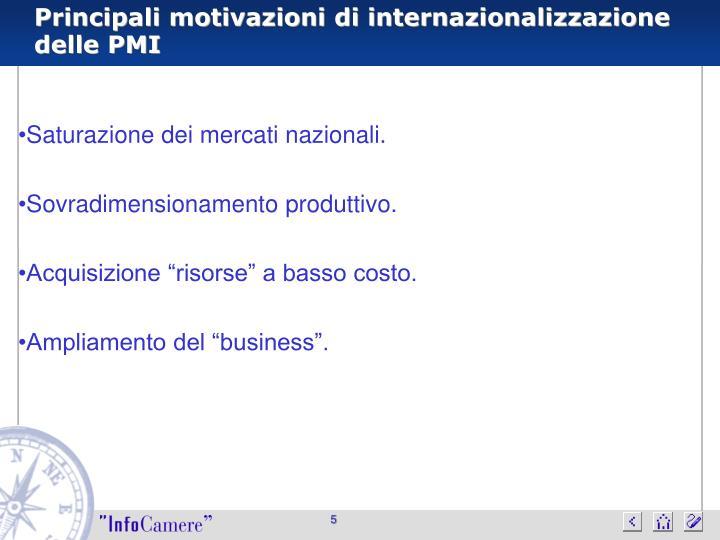 Principali motivazioni di internazionalizzazione delle PMI