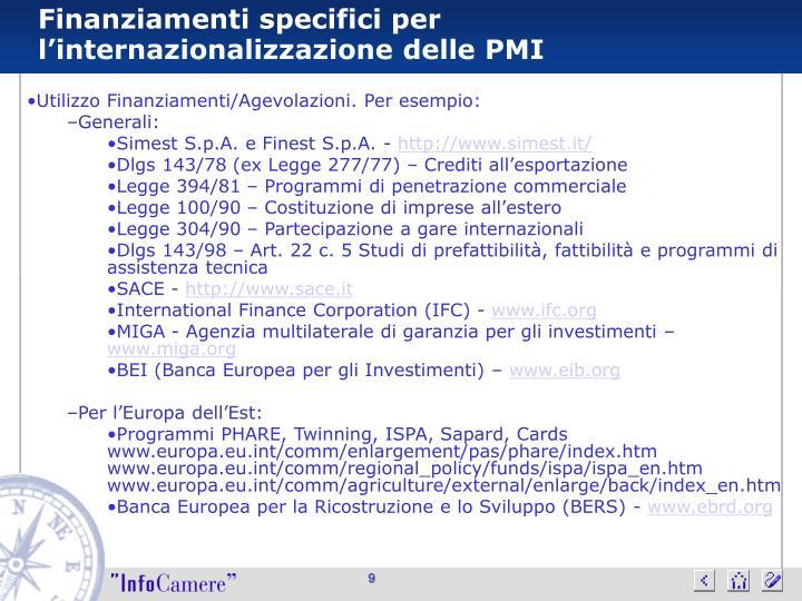 Finanziamenti specifici per l'internazionalizzazione delle PMI