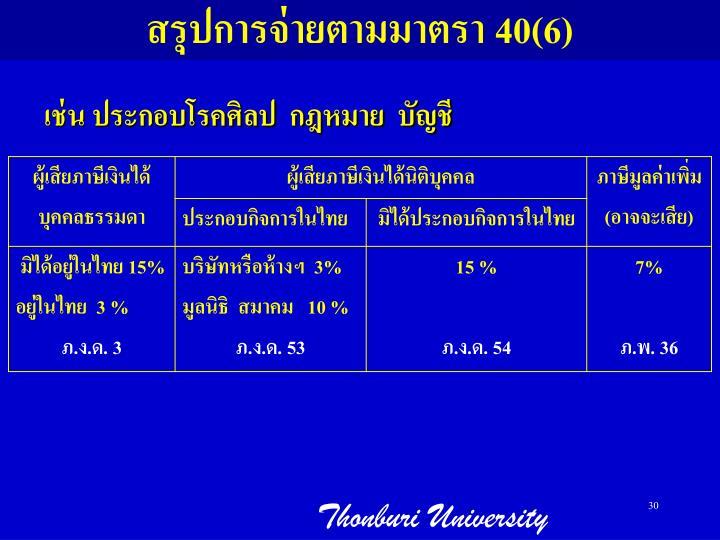 สรุปการจ่ายตามมาตรา 40(6)