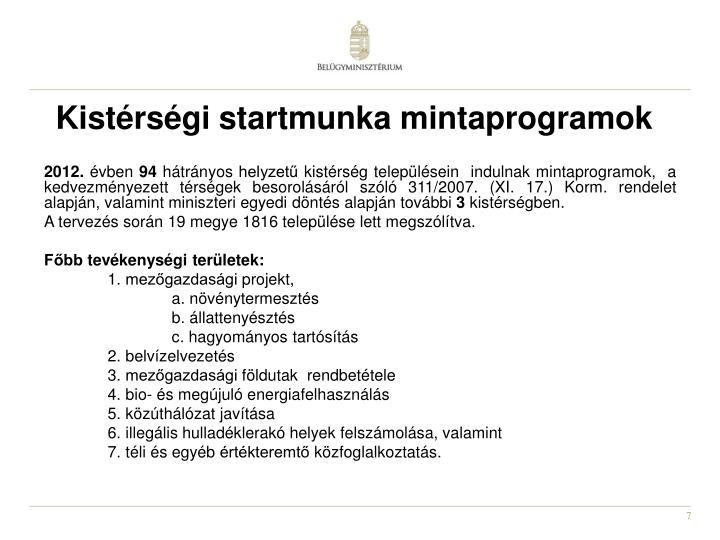 Kistérségi startmunka mintaprogramok