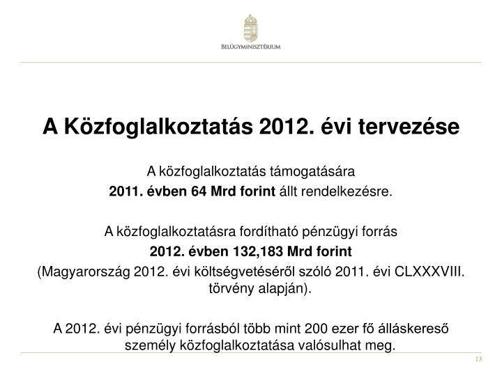 A Közfoglalkoztatás 2012. évi tervezése