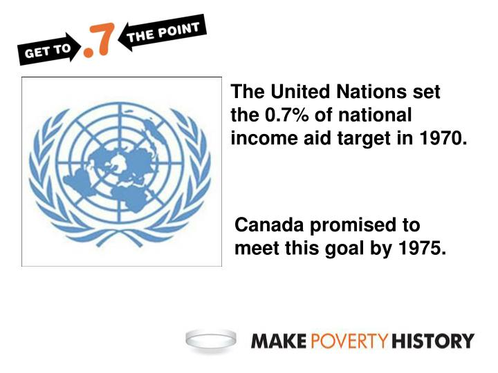 The United Nations set the 0.7% of national income aid target in 1970.